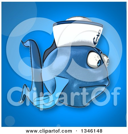 Clipart of a Cartoon Sad Blue Sailor Fish Facing Right over Blue - Royalty Free Illustration by Julos