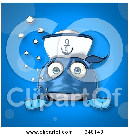 Clipart of a Cartoon Happy Blue Sailor Fish over a Sign on Blue - Royalty Free Illustration by Julos