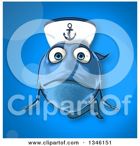 Clipart of a Cartoon Sad Blue Sailor Fish over Blue - Royalty Free Illustration by Julos
