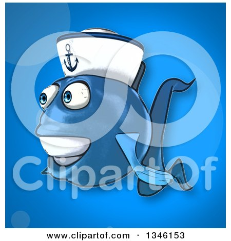 Clipart of a Cartoon Happy Blue Sailor Fish Facing Left over Blue - Royalty Free Illustration by Julos
