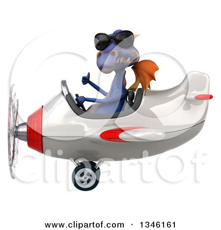 Clipart of a 3d Purple Dragon Aviator Pilot Wearing Sunglasses, Giving a Thumb up and Flying a White and Red Airplane to the Left - Royalty Free Illustration by Julos