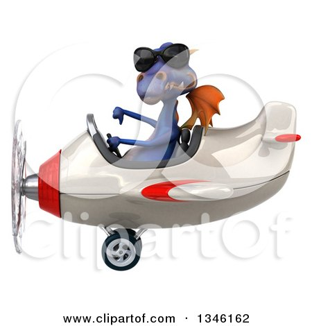 Clipart of a 3d Purple Dragon Aviator Pilot Wearing Sunglasses, Giving a Thumb down and Flying a White and Red Airplane to the Left - Royalty Free Illustration by Julos