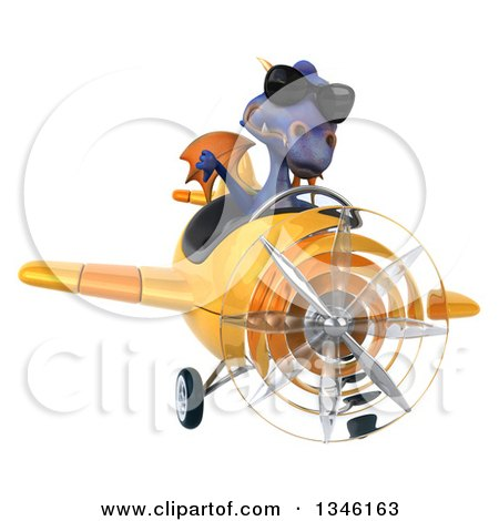 Clipart of a 3d Purple Dragon Aviator Pilot Wearing Sunglasses, Giving a Thumb down and Flying a Yellow Airplane - Royalty Free Illustration by Julos