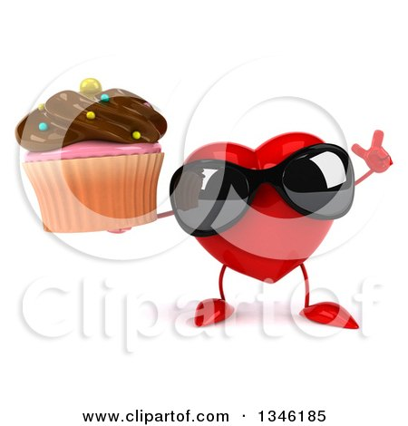 Clipart of a 3d Heart Character Wearing Sunglasses, Holding up a Finger and a Chocolate Frosted Cupcake - Royalty Free Illustration by Julos