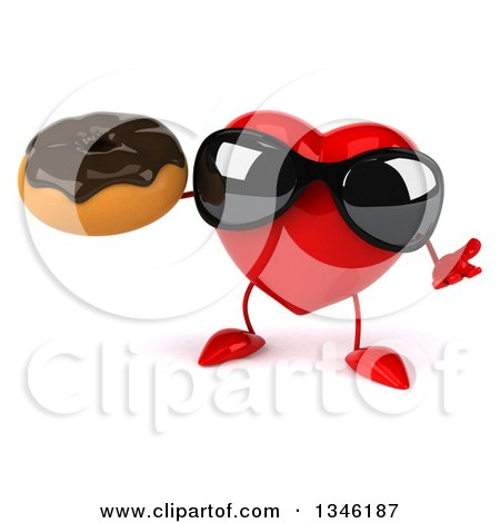 Clipart of a 3d Heart Character Wearing Sunglasses, Shrugging and Holding a Chocolate Glazed Donut - Royalty Free Illustration by Julos