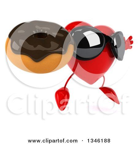 Clipart of a 3d Heart Character Wearing Sunglasses, Jumping, Facing Slightly Right and Holding a Chocolate Glazed Donut - Royalty Free Illustration by Julos