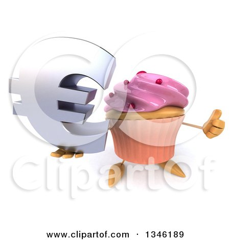 Clipart of a 3d Pink Frosted Cupcake Character Holding up a Thumb and Email Arobase at Symbol - Royalty Free Illustration by Julos