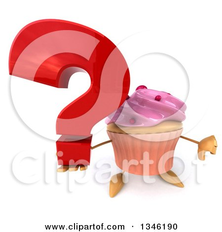 Clipart of a 3d Pink Frosted Cupcake Character Giving a Thumb down and Holding up a Question Mark - Royalty Free Illustration by Julos