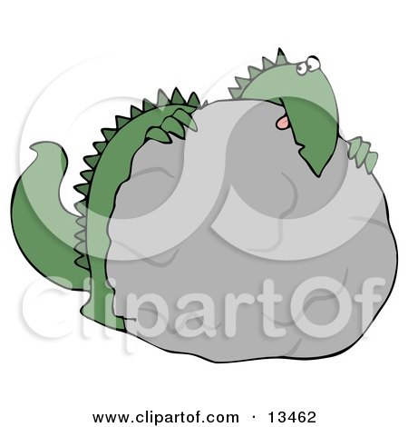 Big Green Dino Hiding Behind a Rock During a Game of Hide and Seek Clipart Illustration by djart
