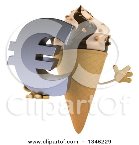Clipart of a 3d Chocolate and Vanilla Swirl Waffle Ice Cream Cone Character Holding a Euro Currency Symbol and Jumping - Royalty Free Illustration by Julos