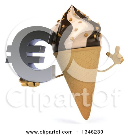 Clipart of a 3d Chocolate and Vanilla Swirl Waffle Ice Cream Cone Character Holding up a Finger and a Euro Currency Symbol - Royalty Free Illustration by Julos