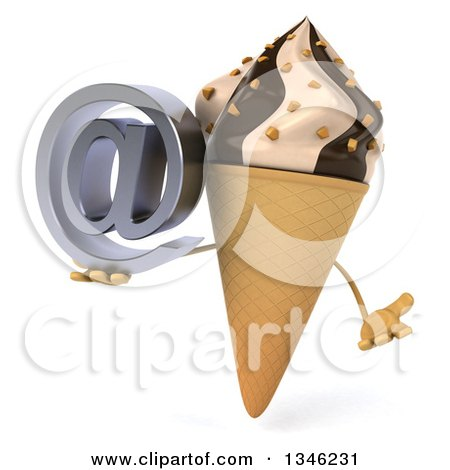 Clipart of a 3d Chocolate and Vanilla Swirl Waffle Ice Cream Cone Character Shrugging and Holding an Email Arobase at Symbol - Royalty Free Illustration by Julos