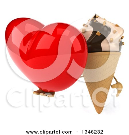 Clipart of a 3d Chocolate and Vanilla Swirl Waffle Ice Cream Cone Character Holding a Heart - Royalty Free Illustration by Julos