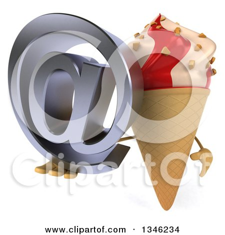 Clipart of a 3d Strawberry and Vanilla Swirl Waffle Ice Cream Cone Character Holding an Email Arobase at Symbol - Royalty Free Illustration by Julos