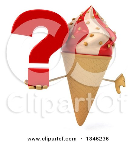 Clipart of a 3d Strawberry and Vanilla Swirl Waffle Ice Cream Cone Character Giving a Thumb down and Holding a Question Mark - Royalty Free Illustration by Julos
