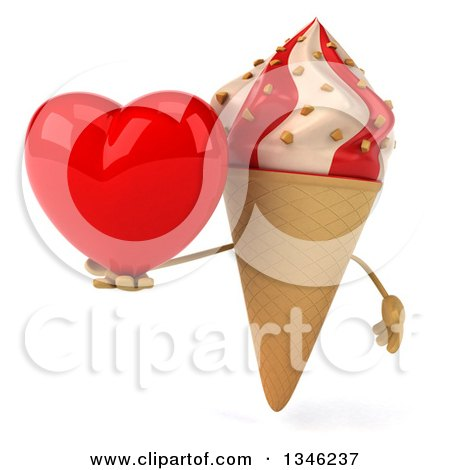 Clipart of a 3d Strawberry and Vanilla Swirl Waffle Ice Cream Cone Character Holding a Heart - Royalty Free Illustration by Julos