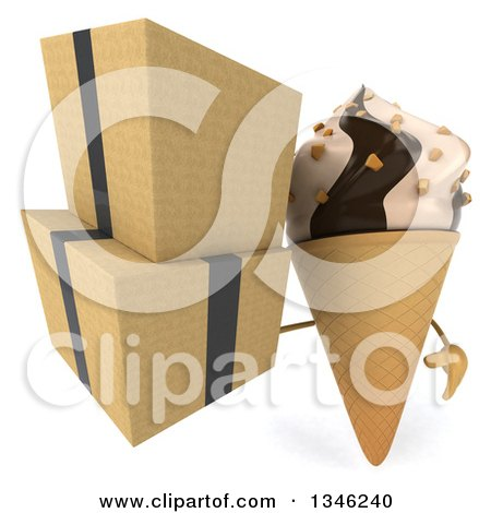 Clipart of a 3d Chocolate and Vanilla Swirl Waffle Ice Cream Cone Character Holding Boxes - Royalty Free Illustration by Julos