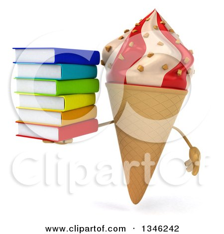 Clipart of a 3d Strawberry and Vanilla Swirl Waffle Ice Cream Cone Character Holding a Stack of Books - Royalty Free Illustration by Julos
