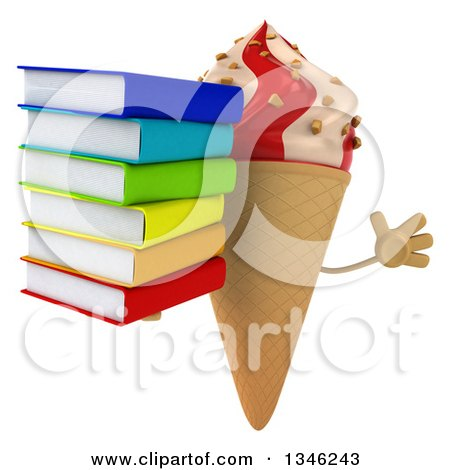 Clipart of a 3d Strawberry and Vanilla Swirl Waffle Ice Cream Cone Character Holding a Stack of Books and Jumping - Royalty Free Illustration by Julos