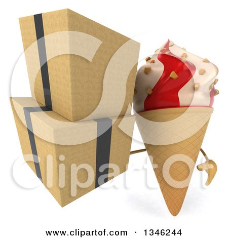 Clipart of a 3d Strawberry and Vanilla Swirl Waffle Ice Cream Cone Character Holding Boxes - Royalty Free Illustration by Julos