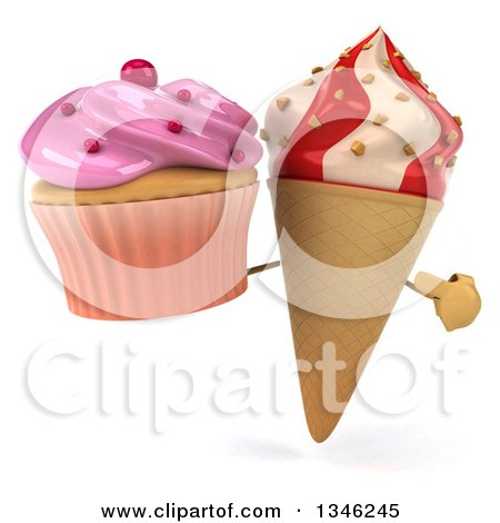 Clipart of a 3d Strawberry and Vanilla Swirl Waffle Ice Cream Cone Character Holding and Pointing to a Pink Frosted Cupcake - Royalty Free Illustration by Julos