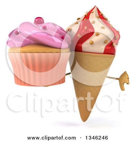 Clipart of a 3d Strawberry and Vanilla Swirl Waffle Ice Cream Cone Character Holding a Pink Frosted Cupcake and Giving a Thumb down - Royalty Free Illustration by Julos