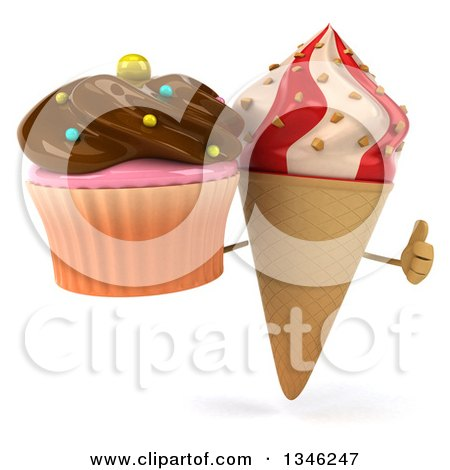 Clipart of a 3d Strawberry and Vanilla Swirl Waffle Ice Cream Cone Character Holding a Chocolate Frosted Cupcake and Giving a Thumb up - Royalty Free Illustration by Julos