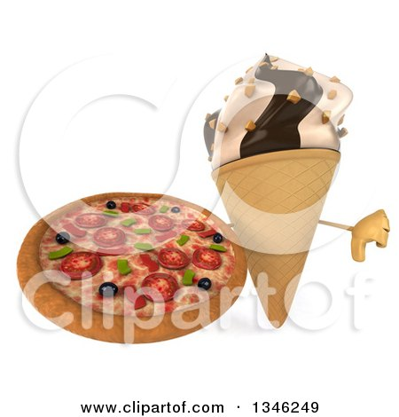 Clipart of a 3d Chocolate and Vanilla Swirl Waffle Ice Cream Cone Character Holding a Pizza and Giving a Thumb down - Royalty Free Illustration by Julos