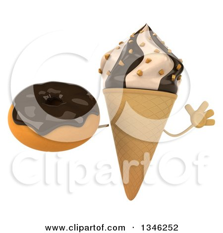 Clipart of a 3d Chocolate and Vanilla Swirl Waffle Ice Cream Cone Character Jumping and Holding a Chocolate Glazed Donut - Royalty Free Illustration by Julos