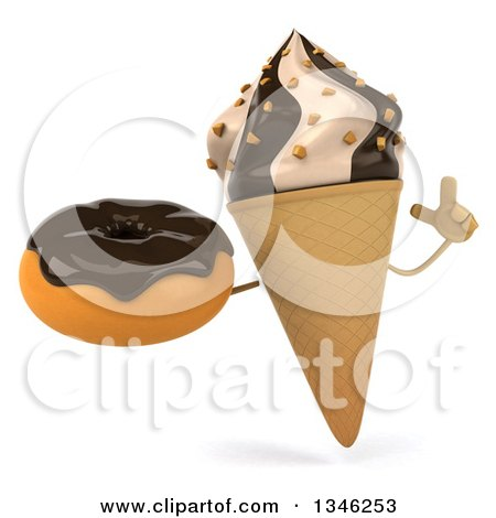 Clipart of a 3d Chocolate and Vanilla Swirl Waffle Ice Cream Cone Character Holding up a Finger and a Chocolate Glazed Donut - Royalty Free Illustration by Julos