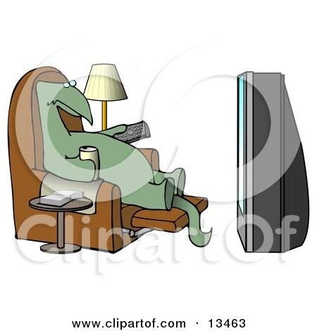 Lazy Dino Drinking a Beer and Holding a Remote Control While Sitting in a Lazy Chair and Watching a Big Projection TV Posters, Art Prints