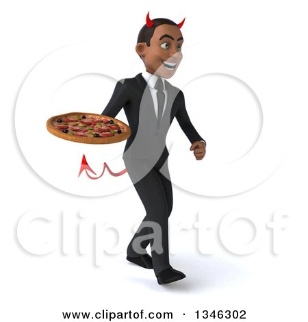 Clipart of a 3d Young Black Devil Businessman Holding a Pizza and Walking Slightly to the Right - Royalty Free Illustration by Julos