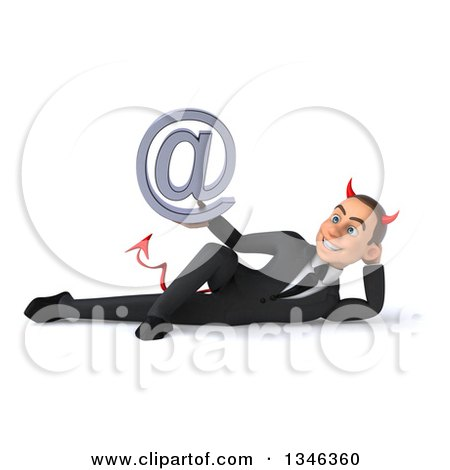 Clipart of a 3d Young White Devil Businessman Holding an Email Arobase at Symbol and Resting on His Side - Royalty Free Illustration by Julos