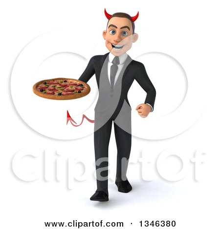 Clipart of a 3d Young White Devil Businessman Holding a Pizza and Walking - Royalty Free Illustration by Julos