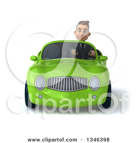 Clipart of a 3d Young White Businessman Driving a Green Convertible Car - Royalty Free Illustration by Julos