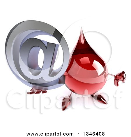 Clipart of a 3d Hot Water or Blood Drop Character Holding up an Email Arobase at Symbol and Thumb down - Royalty Free Illustration by Julos