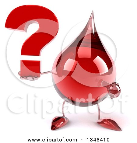 Clipart of a 3d Hot Water or Blood Drop Character Holding and Pointing to a Question Mark - Royalty Free Illustration by Julos