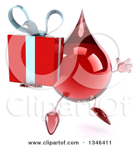 Clipart of a 3d Hot Water or Blood Drop Character Holding a Gift, Facing Slightly Right and Jumping - Royalty Free Illustration by Julos