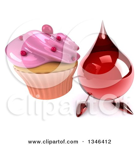 Clipart of a 3d Hot Water or Blood Drop Character Holding up a Pink Frosted Cupcake - Royalty Free Illustration by Julos