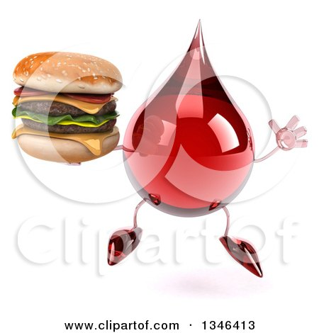 Clipart of a 3d Hot Water or Blood Drop Character Holding a Double Cheeseburger and Jumping - Royalty Free Illustration by Julos