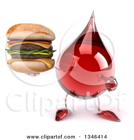 Clipart of a 3d Hot Water or Blood Drop Character Holding and Pointing to a Double Cheeseburger - Royalty Free Illustration by Julos