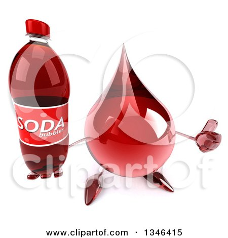 Clipart of a 3d Hot Water or Blood Drop Character Holding up a Thumb and Soda Bottle - Royalty Free Illustration by Julos