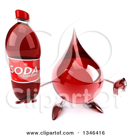 Clipart of a 3d Hot Water or Blood Drop Character Holding up a Thumb down and Soda Bottle - Royalty Free Illustration by Julos