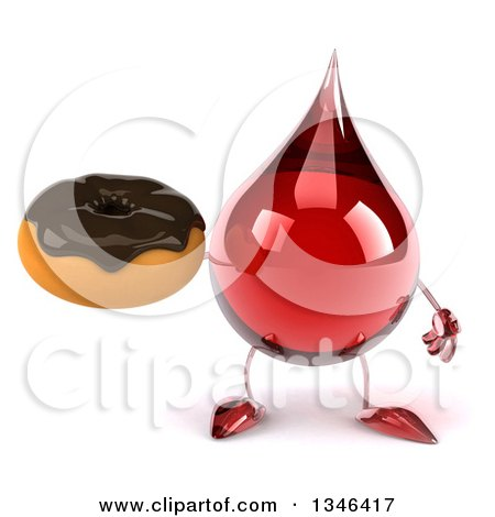 Clipart of a 3d Hot Water or Blood Drop Character Holding a Chocolate Glazed Donut - Royalty Free Illustration by Julos