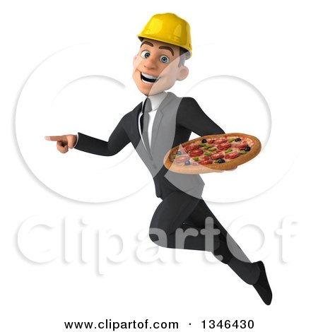 Clipart of a 3d Young White Male Architect Holding a Pizza, Flying and Pointing - Royalty Free Illustration by Julos