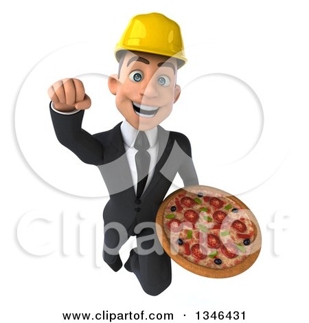 Clipart of a 3d Young White Male Architect Holding a Pizza and Flying Forward - Royalty Free Illustration by Julos