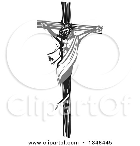 Clipart of a Black and White Woodcut Scene of Jesus on the Cross - Royalty Free Vector Illustration by xunantunich