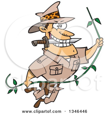 Clipart of a Cartoon Caucasian Male Adventurer Explorer Swinging on a Vine, Biting a Knife in His Teeth - Royalty Free Vector Illustration by toonaday