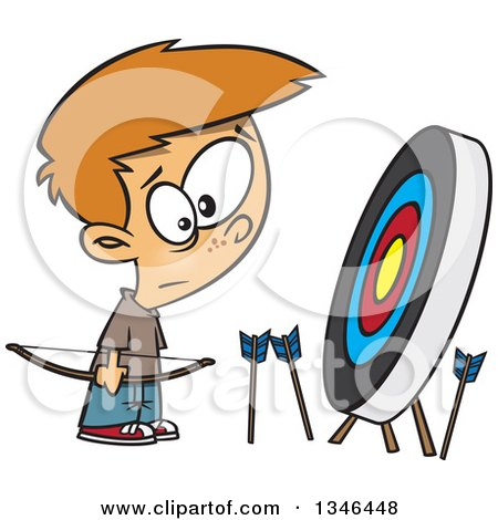Clipart of a Cartoon White Archery Boy with Many Missed Arrows Around a Target - Royalty Free Vector Illustration by toonaday