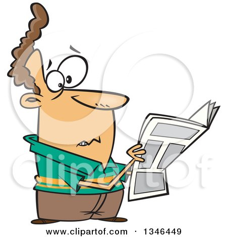 Clipart of a Cartoon Brunette Caucasian Man Reading Terrible News in the Paper - Royalty Free Vector Illustration by toonaday